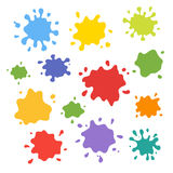 Collection of paint splash. Vector set of brush strokes. Isolated on white background Royalty Free Stock Photo