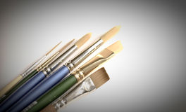 Collection of paintbrushes. A collection of artist's watercolor brushes Royalty Free Stock Images