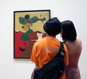Joan Miro At The MOMA. A collection of 60 paintings of The  Spanish Painters sculpture and ceramicist ,Joan Miro is exhibited at the Museum Of Modern Art in stock images
