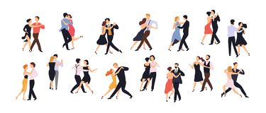 Collection of pairs of dancers isolated on white background. Men and women performing dance at school, studio, party. Male and female cartoon characters stock illustration