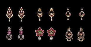 Collection of pairs of  diamond earrings Stock Photo