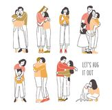 Collection of pairs of hugging or cuddling people - romantic partners, friends, pets and owners, parents and kids. Set vector illustration