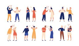 Collection of pairs of people during conflict or disagreement. Set of men and women quarreling, brawling, bickering. Shouting at each other. Colorful vector vector illustration