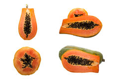 Collection of papaya images. On white royalty free stock photos