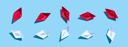 Collection of paper boats Stock Photo