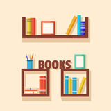 Collection of paper books. Wooden bookshelf. Vector flat illustration Royalty Free Stock Images