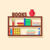 Collection of paper books. Wooden bookshelf. Vector flat illustration Royalty Free Stock Photography