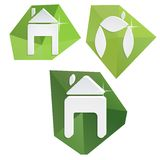 Collection of paper icons on polygonal triangular. Green background for your ideas and business Stock Photography