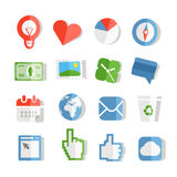 Collection of paper style color web icons Royalty Free Stock Photos