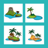 Collection paradisiac island tourism relax adventure Stock Images