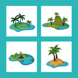Collection paradisiac island tropical caribbean Royalty Free Stock Photo