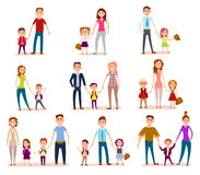 Collection of Parents with Their School Children Royalty Free Stock Photography