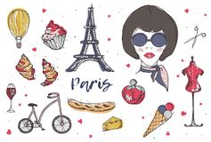 Collection of Paris and France elements - fashionable Parisian woman, perfume, french cheese, baguette, Eiffel Tower. Glass of red wine hand drawn in doodle Stock Photo
