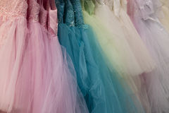 Collection of party dresses Stock Image