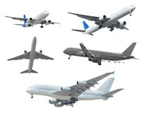 Collection of passenger aircraft isolated on white background Royalty Free Stock Images