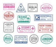 Collection of passport visa stamps isolated on white background. Bundle of travel or touristic marks. Set of round vector illustration