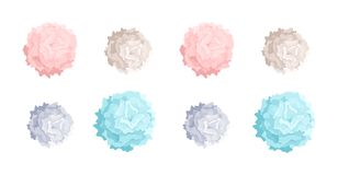Collection of pastel colored pom poms of different size. Dance props used in choreography performances and cheerleading. Colorful decorative elements isolated Royalty Free Stock Images