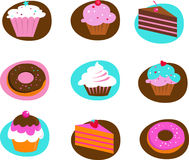 Collection of pastry icons. Collection of pastry and cakes icons Royalty Free Stock Photo