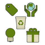 Collection patchwork concept of Eco icons set Royalty Free Stock Photo