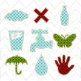 Collection patchwork concept of environment icons Stock Images