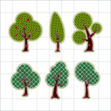Collection patchwork concept of tree icons Royalty Free Stock Photography
