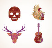 Collection of patterned Bohemian, Tribal objects Stock Photos