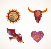Collection of patterned Bohemian, Tribal objects Stock Images