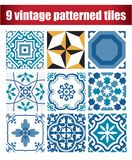 9 collection patterned Vintage tile Stock Photography