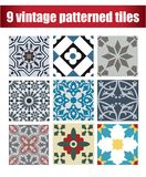 9 collection patterned Vintage tile Royalty Free Stock Photos