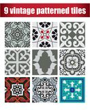 9 collection patterned Vintage tiles. 9 COLLECTION PATTERNED design VINTAGE TILE Royalty Free Stock Photography