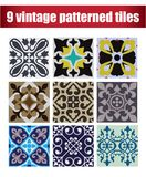 9 collection patterned Vintage tiles. 9 COLLECTION PATTERNED design VINTAGE TILE Royalty Free Stock Photos
