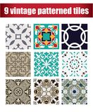 9 collection patterned Vintage tiles. 9 COLLECTION PATTERNED design VINTAGE TILE Stock Photo