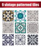 9 collection patterned Vintage tiles. 9 COLLECTION PATTERNED design VINTAGE TILE Stock Photos