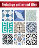 9 collection patterned Vintage tiles. 9 COLLECTION PATTERNED design VINTAGE TILE Stock Photography