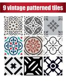 9 collection patterned Vintage tiles. Vintage tile wall craft design patterns Stock Images