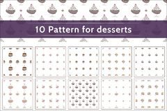 Collection of 10 patterns for desserts Royalty Free Stock Images