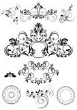 Collection of patterns and round frames Stock Images