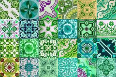 Collection of patterns tiles in green color royalty free stock photos