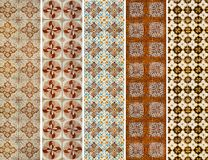 Collection of patterns tiles lines in blue and yellow Stock Image