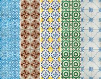 Collection of patterns tiles lines in different colors Royalty Free Stock Photos