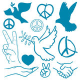 Collection of peace and love themed icons Royalty Free Stock Photography