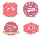 Collection of pearl white elegant vector emblem design. Set of pink promo seals, stickers - premium quality and best service. Stock Image