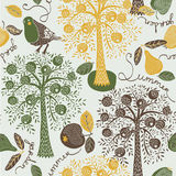 Collection of pears, apple trees and birds Stock Images