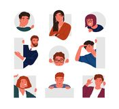 Collection of peeping people isolated on white background. Set of portraits of funny curious young men and women stock illustration