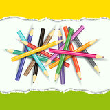 Collection of pencils on abstract background. Royalty Free Stock Photo