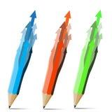 Collection pencils arrows. Royalty Free Stock Photos
