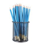 Collection of pencils in the basket. Isolated on white background Royalty Free Stock Photos