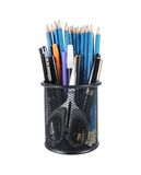 Collection of pencils, pens, and markers. Collection of pencils, pens, markers, and a scissors isolated on white background Stock Photo