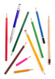 Collection of pencils on white Stock Image