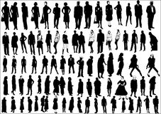 Collection of people. In silhouette in different poses Stock Photography